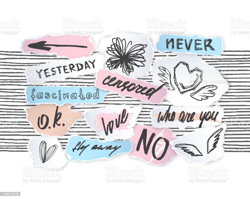 Torn off paper edges collage pieces' sketches set with hand drawn words, lettering, drawings. . vector art illustration
