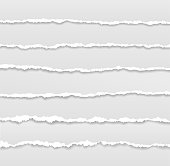istock Torn page borders. Ripped edges paper banner, header design. Tear of sheets, rough grunge texture stripes. Horizontal scrapbook exact vector elements 1343181432