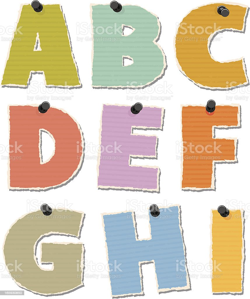 Torn Paper Alphabet vector art illustration