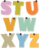 Vector illustration of a realistic, but fully editable and scaleable torn paper alphabet. Each upper case letter of this original font is torn from a different brightly colored piece of paper. Including purple, greens, oranges and blues. Each with it's own individual thumb tack (which is easily removable). This particular set includes the letters 'S' to 'Z'.