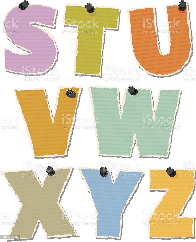 Torn Paper Alphabet vector art illustration