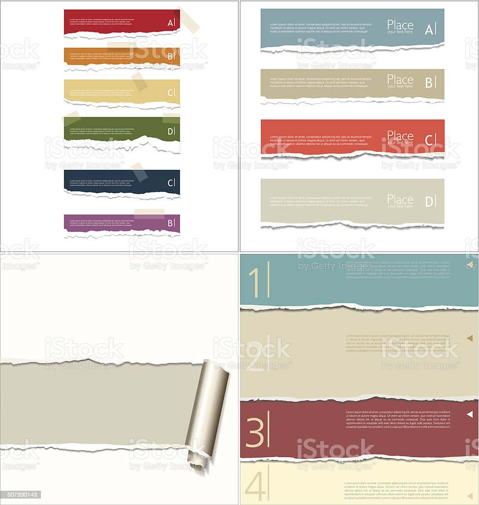 Torn paper background, collection vector art illustration