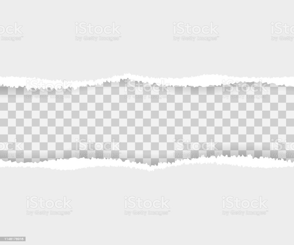 Torn paper edges, seamless horizontally. Vector illustration.
