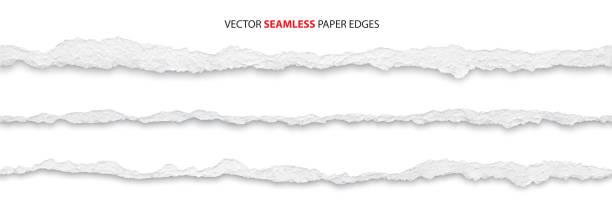 ilustrações, clipart, desenhos animados e ícones de bordas de papel rasgado, vetor - papel