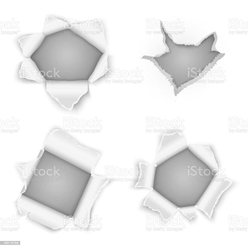 Torn paper holes vector collection vector art illustration
