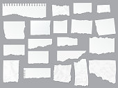 istock Torn paper notes, notebook, realistic vector 1220285942