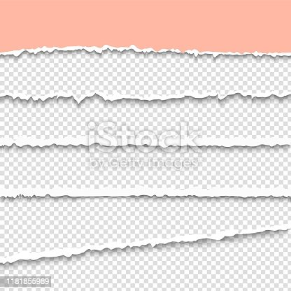 Torn paper. Pipped pages. Rip paper border background. Realistic grunge banner with shadow. Blank edge cardboard. Torn a half sheet of pink paper from the bottom