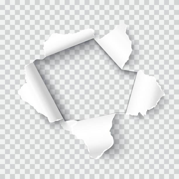 illustrazioni stock, clip art, cartoni animati e icone di tendenza di torn paper realistic vector illustration - foro