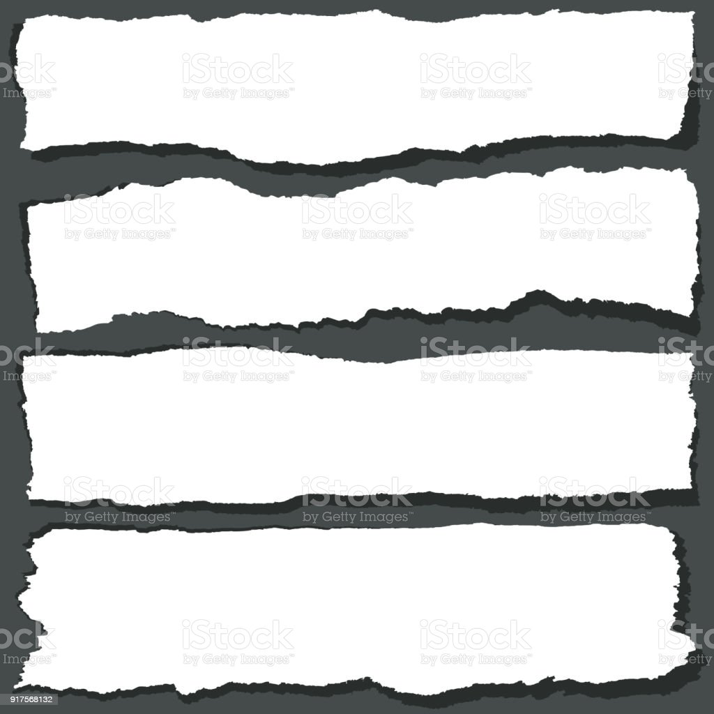 Torn paper ribbons with jagged edges. Abstract grange paper sheets vector set vector art illustration