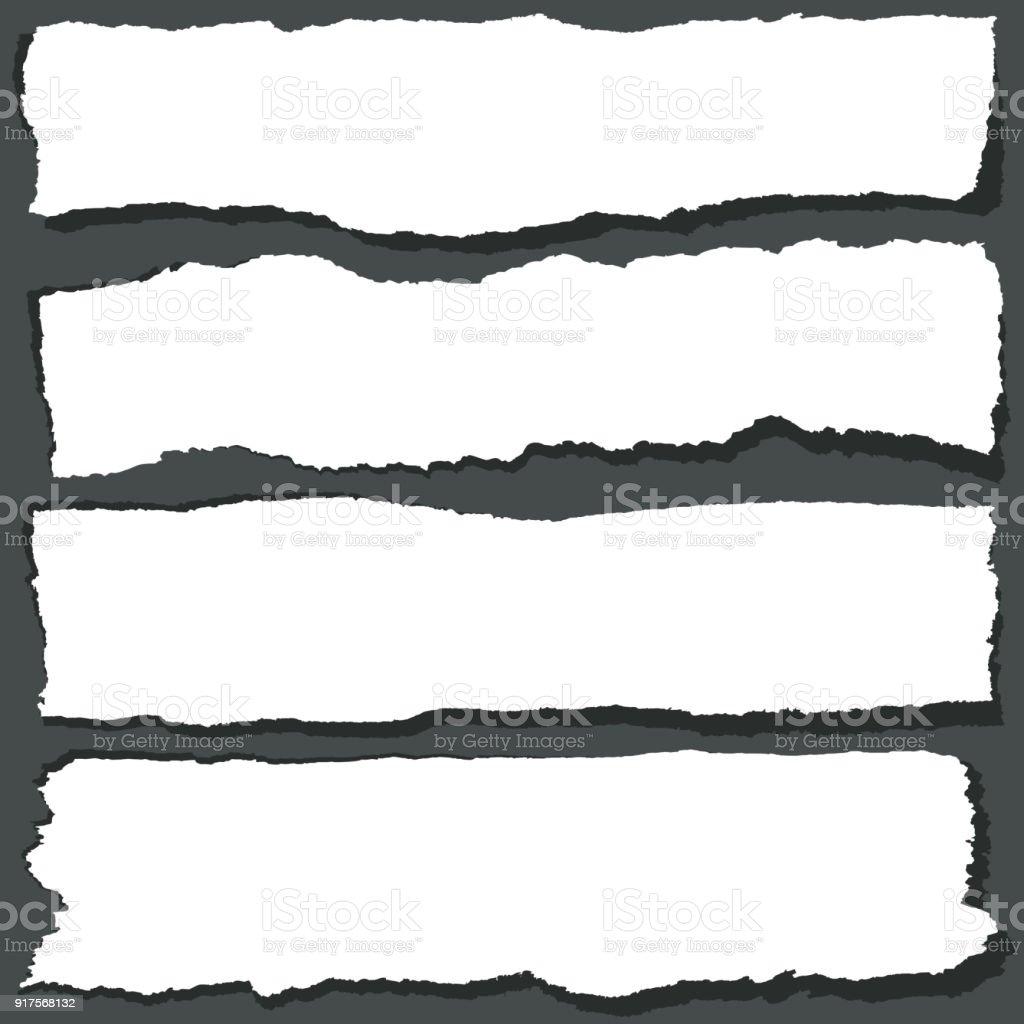 Papier Bänder mit gezackten Kanten gebrochen. Abstrakte Grange Papier-Blätter-Vektor-set – Vektorgrafik