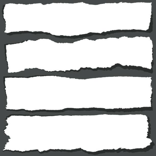 kağıt şeritler ile pürüzlü kenarları yırtılmış. soyut grange kağıt yaprak vektör set - sosyal rol stock illustrations