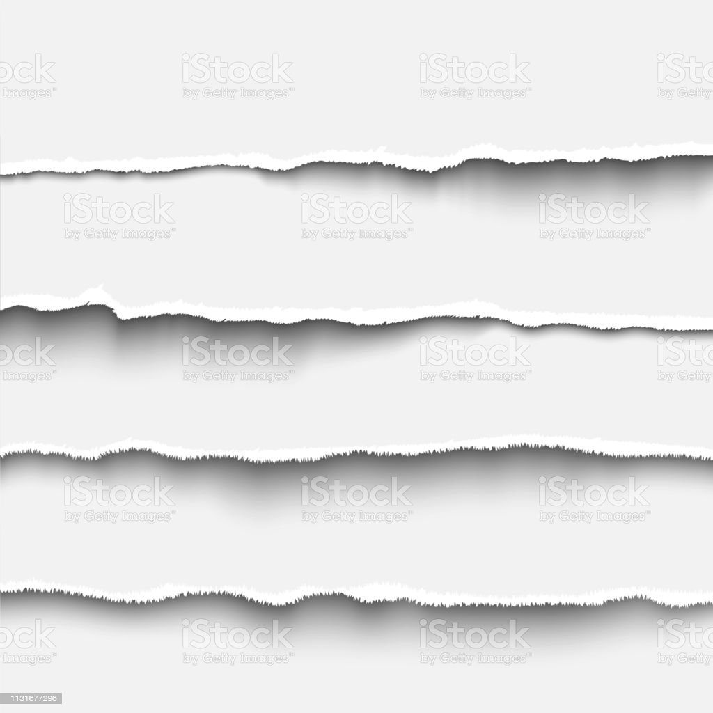 Torn paper strip set realistic vector illustration tear paper edges...