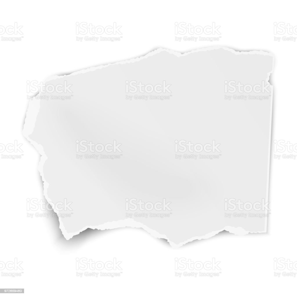 Torn paper wisp with soft shadow isolated on white background. Vector template paper design. vector art illustration
