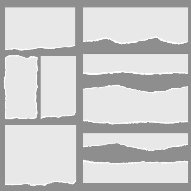 ilustrações, clipart, desenhos animados e ícones de papel rasgado com bordas e o espaço rasgados para o texto - papel