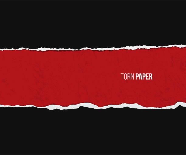 zerrissenes papier mit schatten auf grunge roten und schwarzen hintergrund isoliert. vektor-design-vorlage. - zerrissen stock-grafiken, -clipart, -cartoons und -symbole