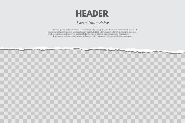 zerrissenes papier mit schatten auf grunge rot-transparenten hintergrund isoliert. vektor-design-vorlage. - zerrissen stock-grafiken, -clipart, -cartoons und -symbole