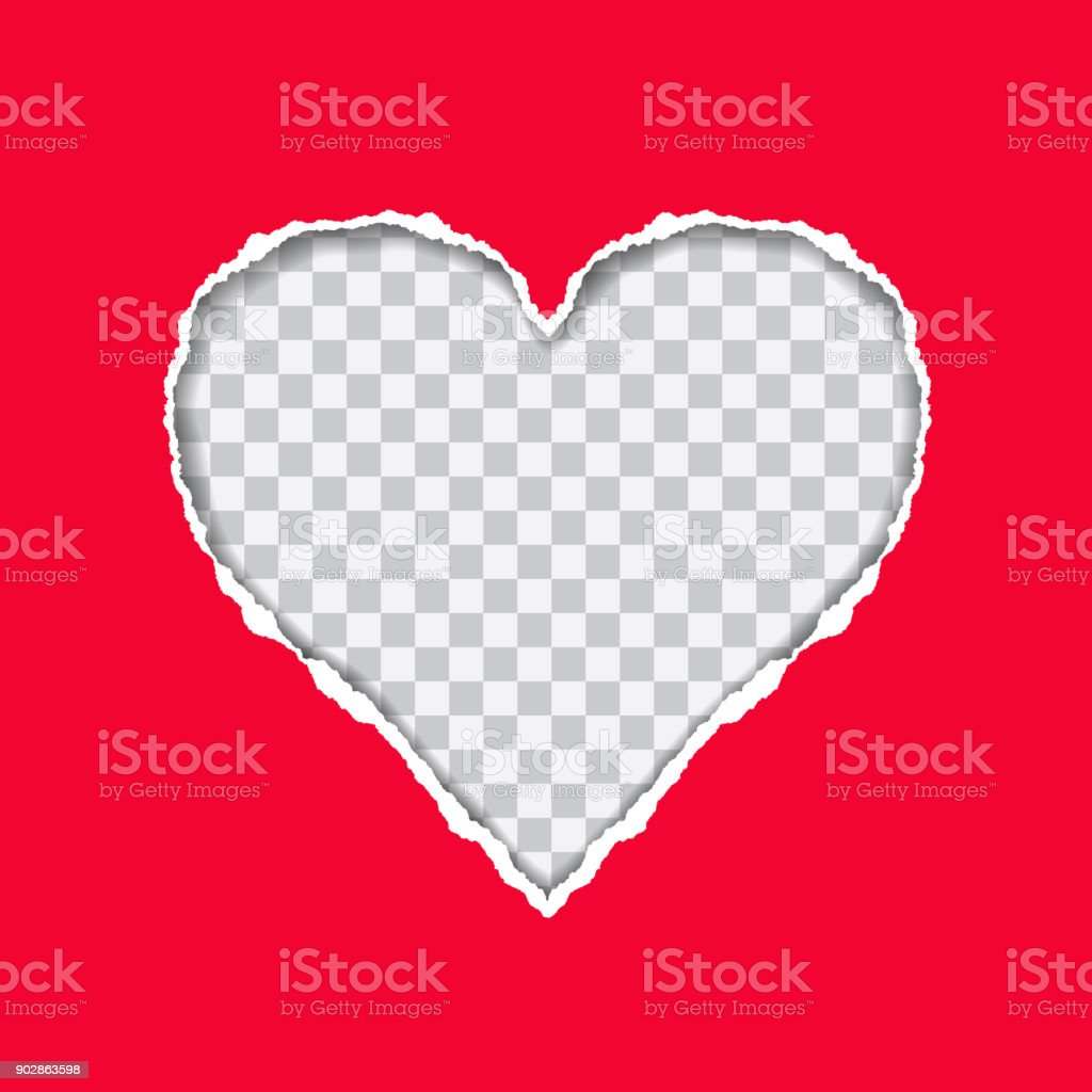 Torn red paper with a heart-shaped on transparent background, suitable as a greeting card - vector vector art illustration