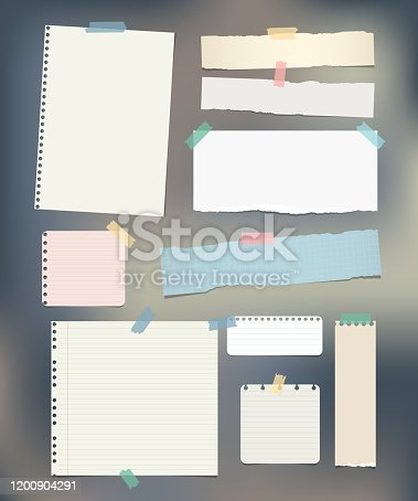 istock Torn ruled, note, notebook, copybook paper strips, sheets stuck with sticky tape on colorful background. 1200904291