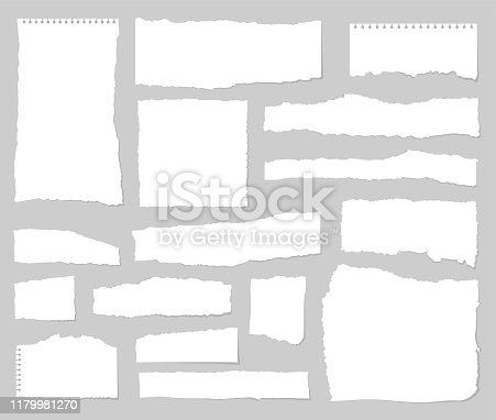 Torn sheets of paper. Set of torn paper. Paper waste .Vector graphic