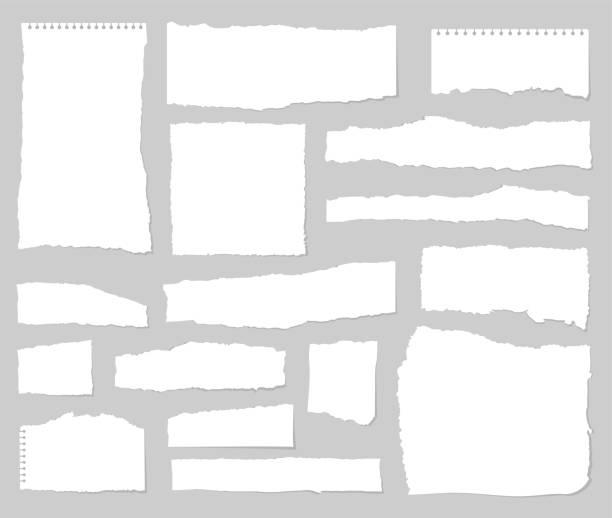 ilustrações, clipart, desenhos animados e ícones de folhas de papel rasgadas. jogo do papel rasgado. desperdício de papel. gráfico do vetor - papel