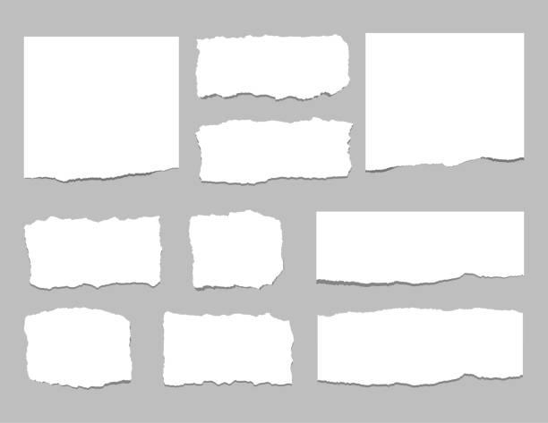 ilustrações, clipart, desenhos animados e ícones de rasgado de folhas de papel. tiras de papel rasgado. ilustração vetorial - papel