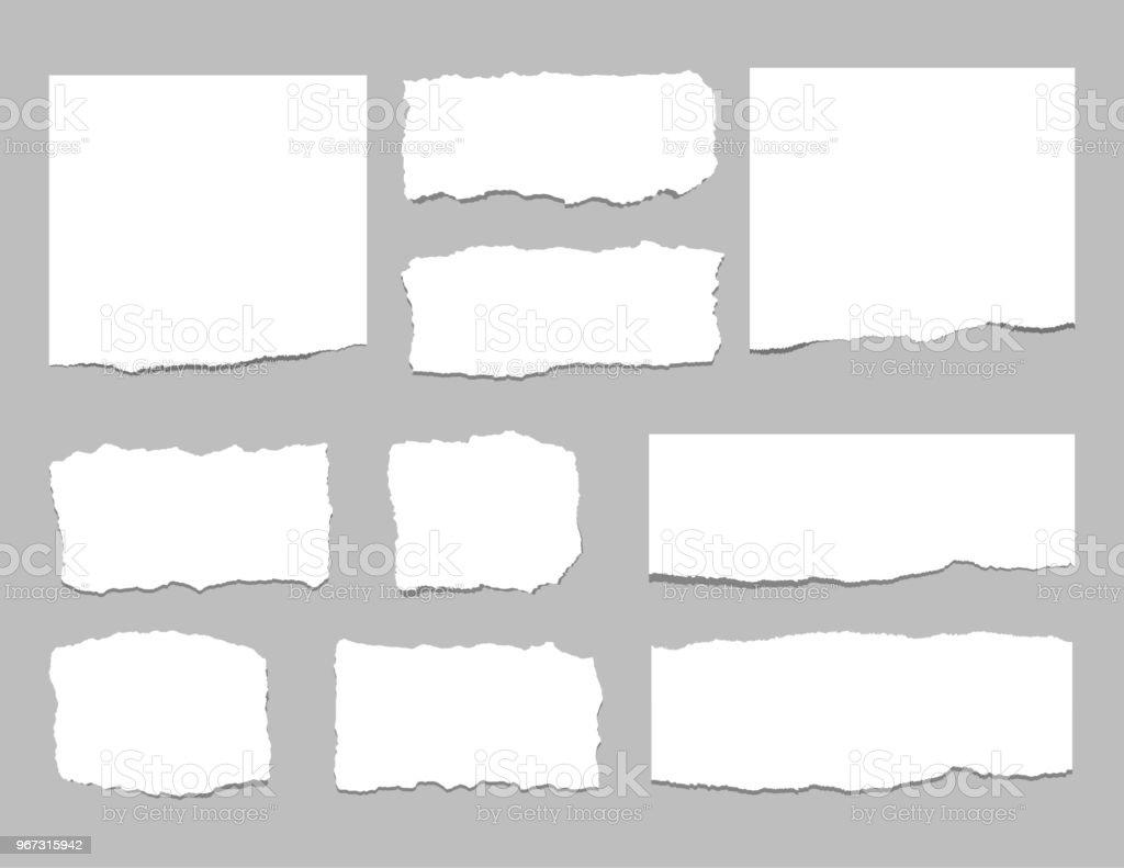 Zerrissene Blatt Papier. Zerrissenes Papier Streifen. Vektor-illustration – Vektorgrafik