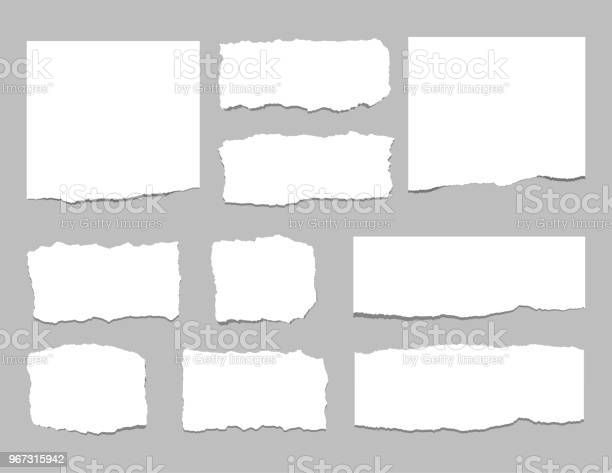 Torn sheets of paper. Torn paper strips. Vector illustration