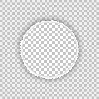 Torn, snatched hole in sheet of checkered transparent paper with paper curl. Vector paper mock up.