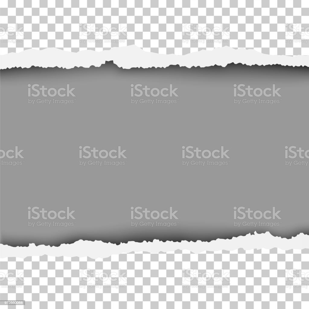 Torn, snatched window in sheet of any color paper. The resulting hole is white. Template design. vector art illustration