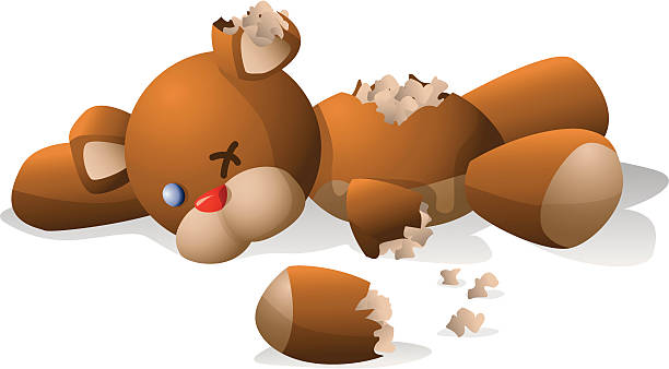 Torn teddy bear  teddy bear stock illustrations