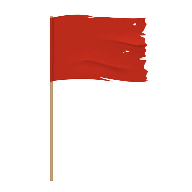 Torn vector red flag template. Torn red flag. Waving fabric flag, isolated on background. Tattered vector flag design. bad condition stock illustrations