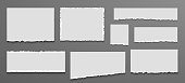 Torn white blank note page set. Ripped notebook paper. Pieces of torn edges on dark gray background. Vector illustration torn paper.