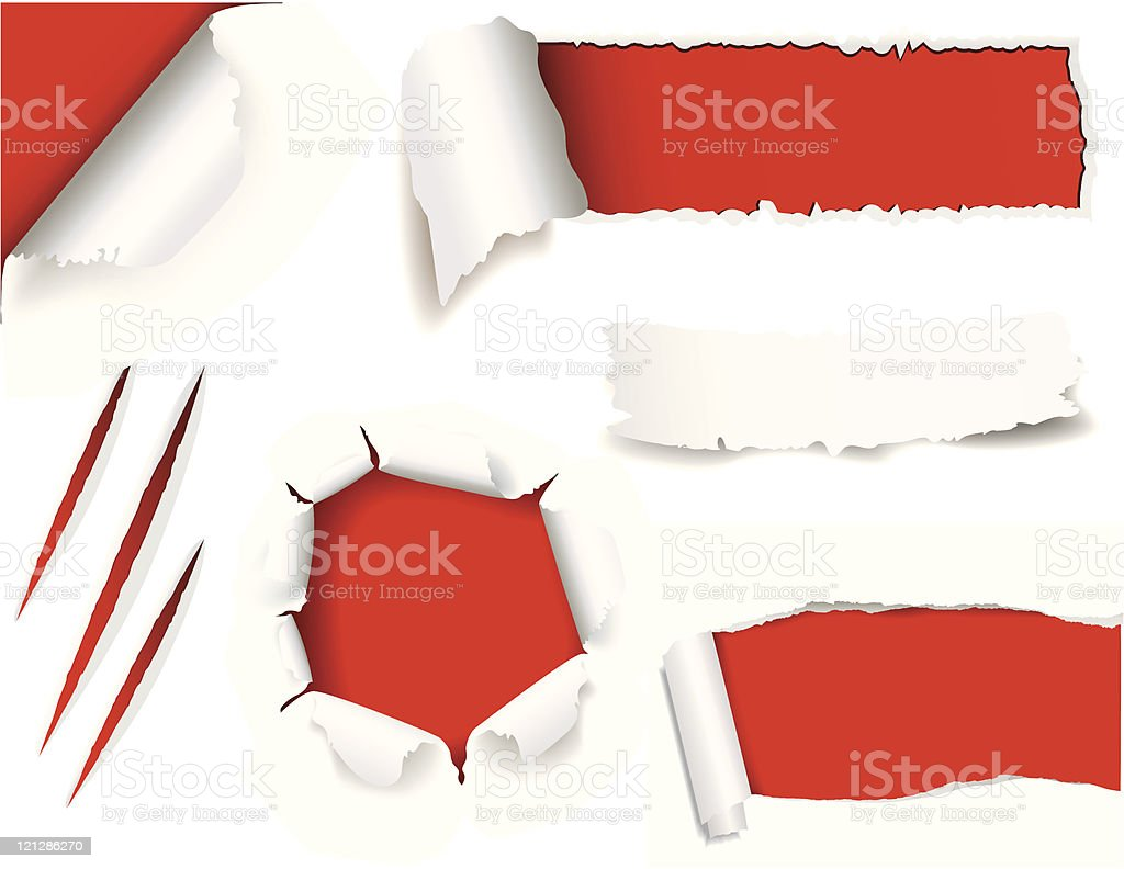 Torn white paper with red background vector art illustration