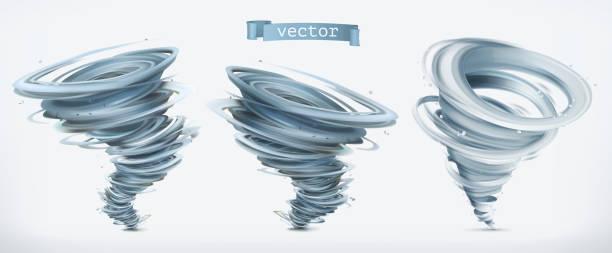 ilustraciones, imágenes clip art, dibujos animados e iconos de stock de tornado. conjunto de iconos vectoriales 3d - hurricane