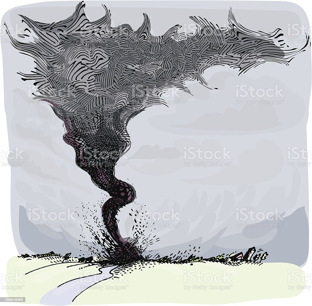 Tornado Cutting Through Farmland royalty-free stock vector art