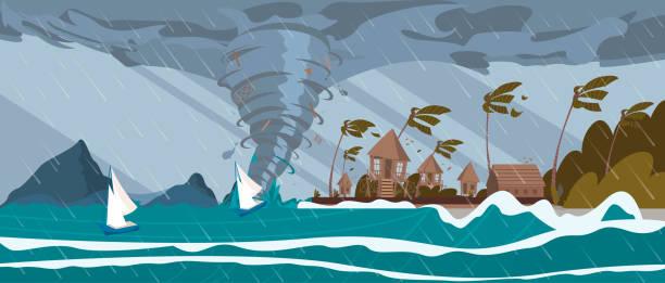 ilustraciones, imágenes clip art, dibujos animados e iconos de stock de tornado del huracán del mar va en trópico casas - hurricane