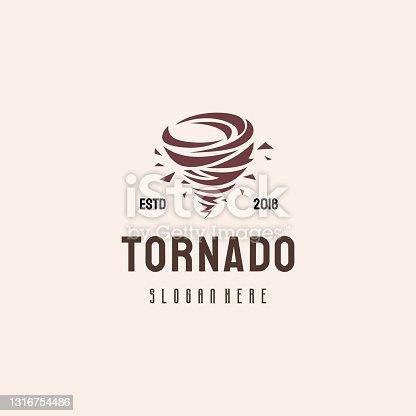 istock Tornado  hipster retro vintage vector template, Typhoon  template concept 1316754486