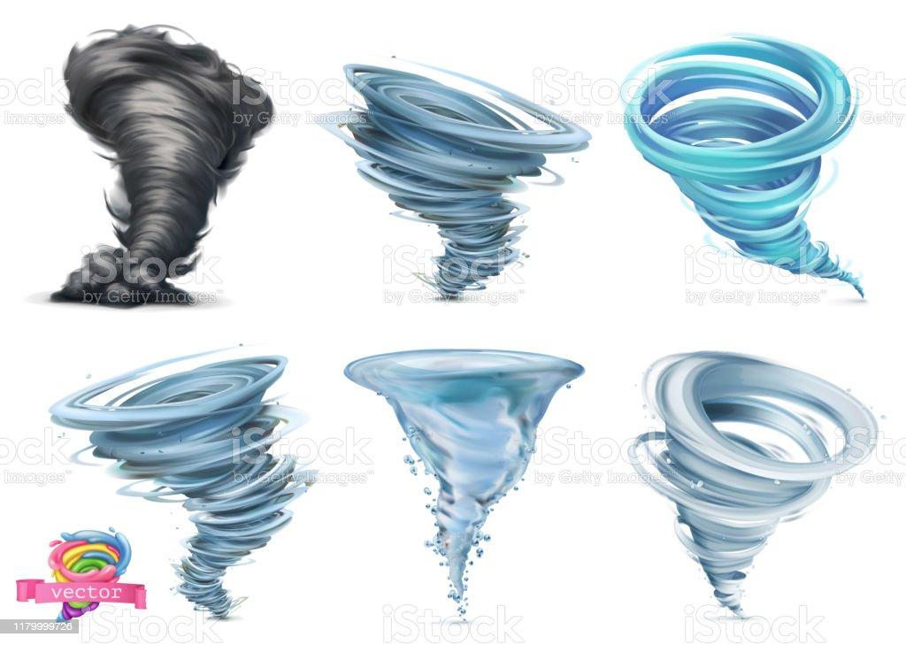 Tornado. Hurricane. 3d vector icon set Tornado. Hurricane. 3d vector icon set Accidents and Disasters stock vector