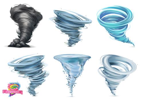 Tornado Hurricane 3d Vector Icon Set Stock Illustration - Download Image Now