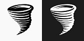 Tornado Icon on Black and White Vector Backgrounds