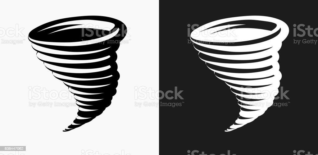 Tornado Icon on Black and White Vector Backgrounds vector art illustration