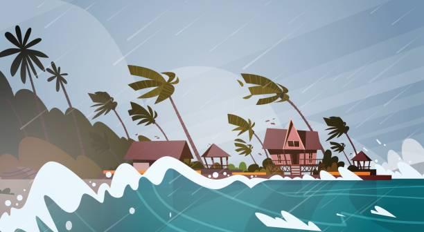 ilustraciones, imágenes clip art, dibujos animados e iconos de stock de tornado entrante del mar de huracán en el mar enormes olas en casas sobre costa tropical desastres naturales concepto - hurricane