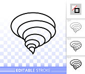 Tornado thin line icon. Outline web sign of twister.  Whirlwind linear pictogram with different stroke width. Simple vector symbol, transparent background. Tornado editable stroke icon without fill