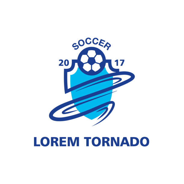 Tornado Soccer Emblem Template Blue Abstract Sport Icon Vector Art Illustration
