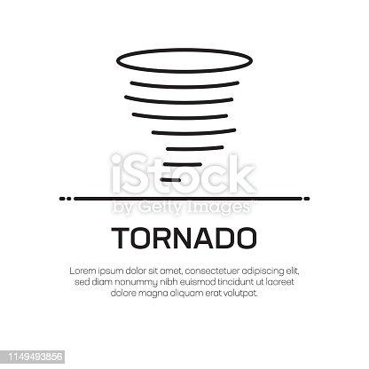 Tornado Vector Line Icon - Simple Thin Line Icon, Premium Quality Design Element