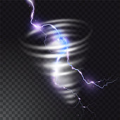 Tornado with lightning illustration of realistic thunderbolt light flash in twister hurricane. Wind cyclone vortex in storm weather. Vector