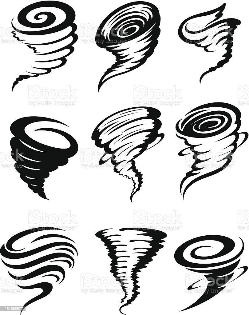 Tornados - Lizenzfrei Biegung Vektorgrafik