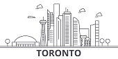 Toronto architecture line skyline illustration. Linear vector cityscape with famous landmarks, city sights, design icons. Editable strokes