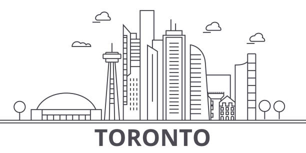 toronto architecture line skyline illustration. linear vector cityscape with famous landmarks, city sights, design icons. landscape wtih editable strokes - toronto stock illustrations