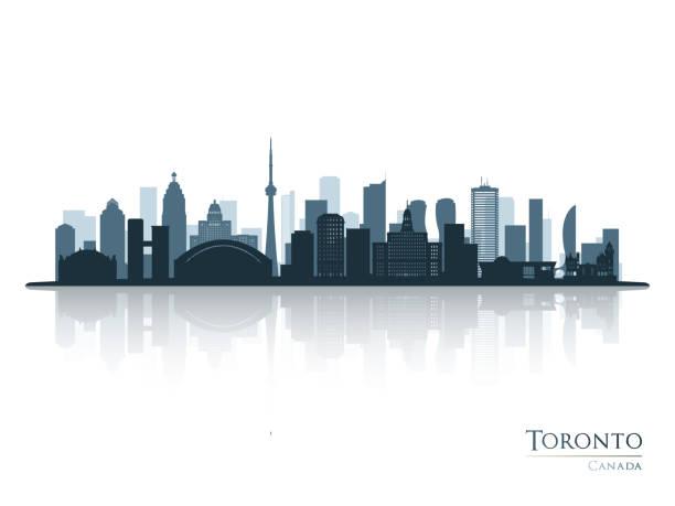 toronto blue skyline silhouette with reflection. vector illustration. - toronto stock illustrations